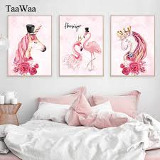 <b>Pink Unicorn</b> Flamingo Canvas Poster and Print Nordic Modern ...