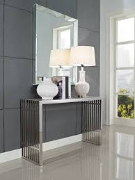 wall mounted mirror above mid century contemporary modern chrome console table with ceramic table lamp and bookshelf ideas contemporary mirrored furniture bedroom furniture mirrored bedroom furniture homedee