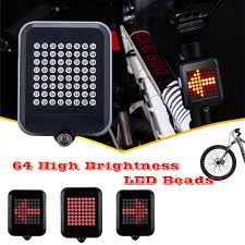 64 Led Bike Turn Signal <b>Intelligent Steering</b> Bicycle Sensor Taillight ...