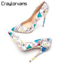 <b>Craylorvans Brand Shoes Woman</b> High Heels Pumps White Graffiti ...