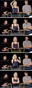 17 best ideas about jennifer lawrence interview jennifer lawrence josh hutcherson and liam hemsworth prove true friendship love exists
