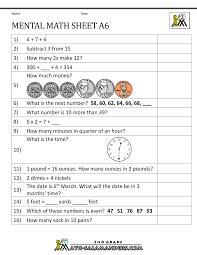 2nd Grade Mental Math WorksheetsMental Math Sheet A6 ...