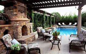 outdoor living spaces gallery outdoor living spaces with pool and fireplace