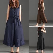 ZANZEA <b>Women Sleeveless V Neck</b> Button Plus Size Jumpsuits ...