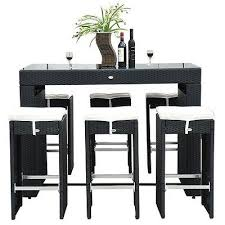 wicker bar height dining table: piece wicker bar stool dining table set cushions outdoor black