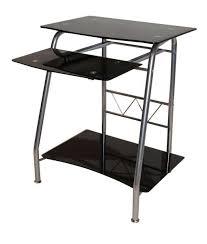 black glass computer desk combine steel black metal computer desk