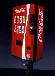 Tim Cook lauds the Apple Watch Healthkit but brags about Apple Pay in over 100,000 Coca Cola/Coke Vending Machines, Irony and Obesity.