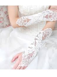 Elastic Satin Fingerless Bridal Gloves With Appliques Simple-dress ...