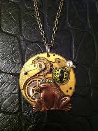 The frogs eye necklace - <b>steampunk</b> frog real <b>vintage</b> gears and ...