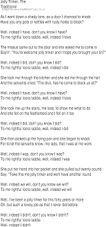 irish music song and ballad lyrics for jolly tinker song lyrics as png graphics