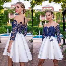 Lace Short Homecoming Dresses 2020 <b>Sheer</b> Long Sleeves <b>Satin</b> ...