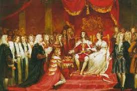 William of Orange and Mary II become monarchs of limited power through the nonviolent Glorious Revolution of 1688.