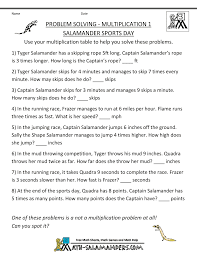 Math Word Problems for Kidsmultiplication word problems multiplication 1 salamander sports day