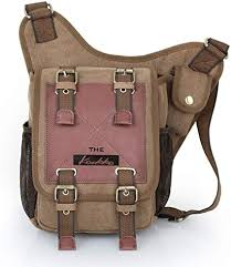 APG Men's Brown Canvas Leather <b>Single Shoulder</b> Cross Body <b>Bag</b> ...