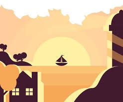 Vintage <b>Lighthouse Landscape</b> Vector Vector Art & Graphics ...