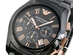 emporio armani black round dial ar1410 ceramic case men s watch