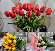 <b>10pcs lot</b> Latex Real Touch <b>Tulip Artificial Flower</b> Bouquet for ...