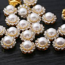 Ritsen, clips <b>20 x 18mm</b> Acrylic Pearl Buttons Light Gold Rim Round ...