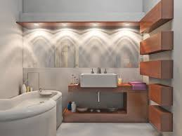 amazing contemporary bathroom with bathroom lighting fixtures completed with white bathtub and wall vessel sink applying bathroom contemporary lighting