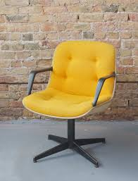 mid century modern steelcase swivel office desk chair rare yellow tweed white and black amazing yellow office chair