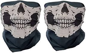 2 Pieces Motorcycle Face <b>Skull Mask</b> Half Face Motorbike Neck ...