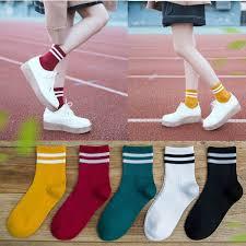 <b>5 Pair Fashion</b> Women Korean Cotton <b>Striped</b> Socks Cute Solid ...