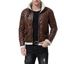 AOWOFS Men's Zipped PU Leather Jacket <b>Winter Thicken Warm</b> ...