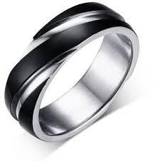Black <b>Titanium Steel</b> Minimalist <b>Twill</b> Rings Fashion Mens Jewelry ...