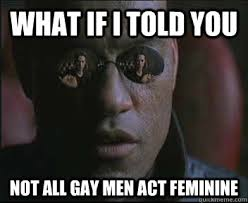 What if I told you not all gay men act feminine - Morpheus SC ... via Relatably.com