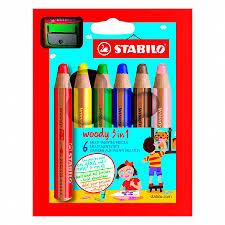 Набор <b>карандашей цветных STABILO</b> Woody 3 в 1, 6 цветов+ ...