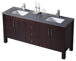 bathroom place vanity contemporary: parsons  double vanity dark walnut white sink white countertop bathroom vanities