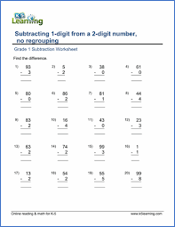Grade 1 Math Worksheet - Subtracting a 1-digit from a 2-digit ...Grade 1 Subtraction Worksheet on subtracting a 1-digit number from a 2-digit