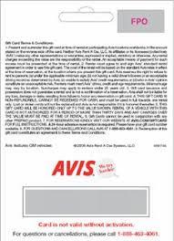 AVIS GIFT CARD