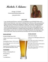 michele adams bartending resume page michele adams