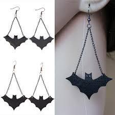 Vintage Retro <b>Halloween Bat</b> Dangle Earrings Black <b>Pu</b> Leather <b>Bat</b> ...