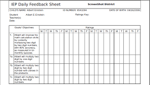 See sample of IEP form beginning here