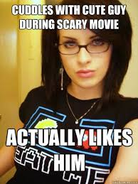 Cuddles with cute guy during scary movie actually likes him - Cool ... via Relatably.com