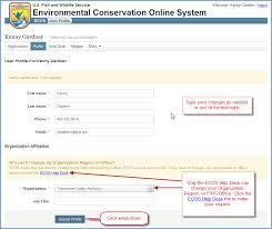 edit your ecos profile fws ecos application help myusgs confluence