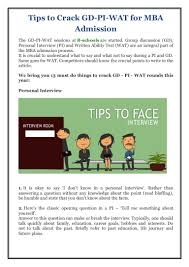tips to crack gd pi wat for mba admission