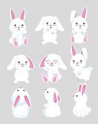 Free Vector | Set <b>cute rabbit</b> wild animal