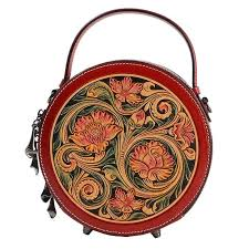 <b>China Style Hand</b> Engraved Lady Small Circular Handbag Genuine ...