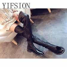 <b>YIFSION New Genuine Leather</b> Side Zip Women Over The Knee ...