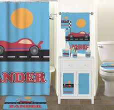 masks bathroom accessories set personalized potty:  race car shower curtain personalized