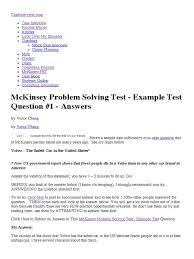 mckinsey problem solving test example test question 1 answers