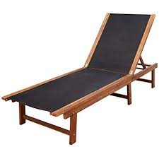 OeyeO <b>Sun Lounger Solid</b> Acacia Wood and - Buy Online in ...