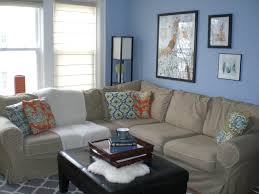living room blue wall paint ideas for with black leather square ottoman coffee living room blue walls brown furniture