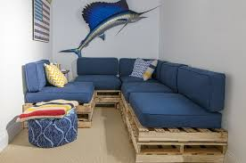 cheap couch covers basement beach with american flag beige carpet blue cushions blue ottoman crate sofa beach shabby chic furniture