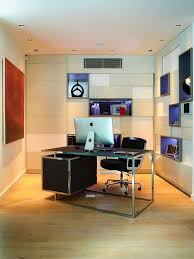 example of a mid sized trendy study room design in london with beige walls biege study twin kids study room