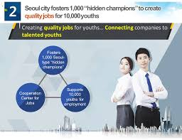 seoul city continues to operate the employment trail seoul extend their office hours until ten o clock and by an integrated website and application which offer information on the job market will be set up