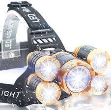 Soft Digits Headlamp, 5 LED Headlight, <b>USB Rechargeable</b> Head ...